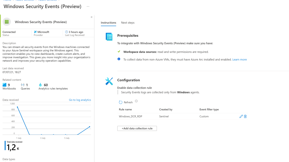 Using the Azure Sentinel Windows Security Events Connector for getting custom events